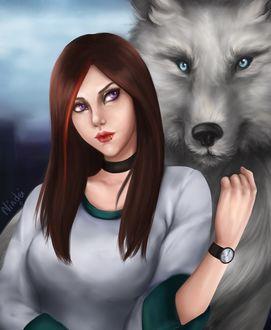 Фото Рыжеволосая девушка с белым волком, by Nindei
