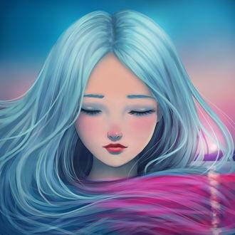 Фото Красивая девушка с розово-голубыми волосами на фоне неба, by Planium (© Arinka jini), добавлено: 22.04.2017 00:50