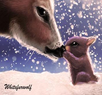 Фото Крольчонок и олененок, by Whitefurwolf