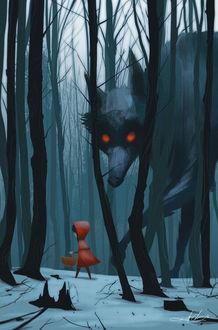 Фото Красная шапочка / Little Red Riding Hood идет по лесу с корзинкой в руках, а сзади за ней крадется огромный волк с красными глазами, by Kurt Chang