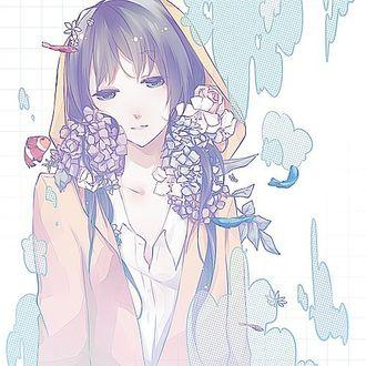 Фото Грустная девушка с цветами