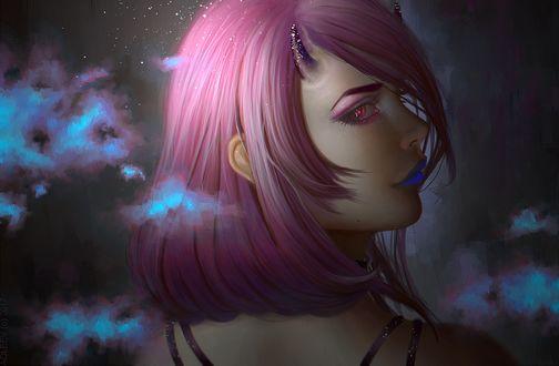 Фото Девушка - демон с розовыми волосами, by Aoleev
