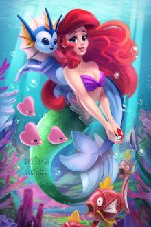 Фото Вапореон / Vaporeon из аниме Покемон / Pokemon и Ariel / Ариэль из мультфильма Little Mermaid / Русалочка, by TsaoShin