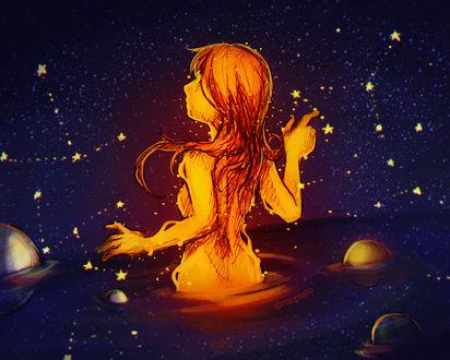 Фото Девушка стоит в воде в космосе, by mcptato