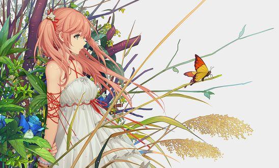 Фото Девушка стоит в ветках, и смотрит на бабочку