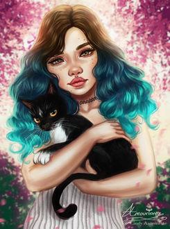 Фото Девушка с кошкой, by Amourinette