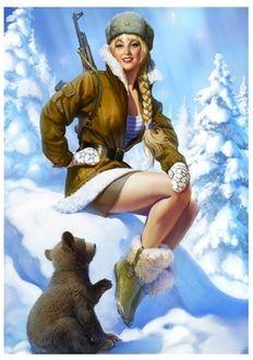 Фото Девушка в стиле pin-up в телогрейке с автоматом сидит на сугробе, рядом медвеженок