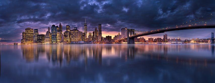 Фото Ночной Нью Йорк с Бруклинским мостом в зареве огней