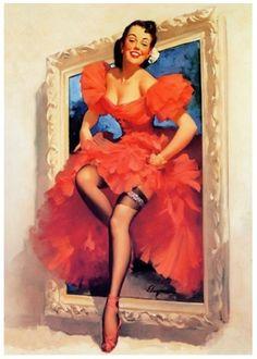 Фото Девушка в стиле Pin-Up в красном платье выходит из картинной рамы, art by Gil Elvgren / Джил Элвгрен