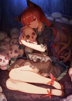 Фото Рин Каэнбе / Rin Kaenbyou из аниме Мечты летних дней / Touhou Niji Sousaku Doujin Anime: Musou Kakyou сидит на земле среди черепов