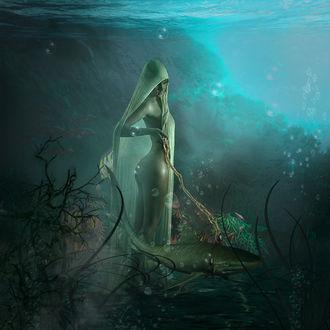 Фото Обнаженная девушка стоит в воде рядом с рыбой, by Серега