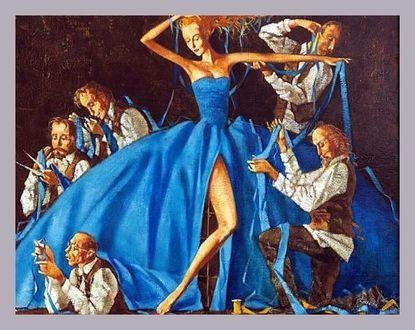 Фото Танцующая девушка в голубом платье в окружении мужчин. Художник Роман Заслонов