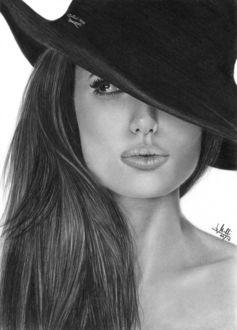 Фото Angelina Jolie / Анджелина Джоли в шляпе, художник Морелли Родриго