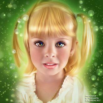 Фото Портрет светловолосой девочки с разноцветными глазами на зеленом фоне с мыльными пузырями, by Margarita Kobzareva