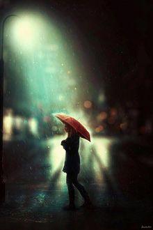 Фото Девушка с красным зонтом под дождем в свете ночного фонаря, by BaxiaArt