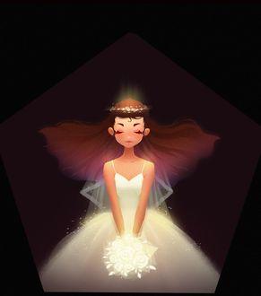 Фото Девушка-невеста с букетом цветов, by Bо Ly