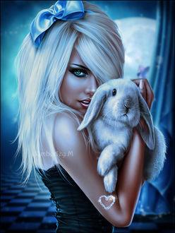 Фото Белокурая девушка с бантом на волосах с кроликом на руках, by SweetDreamsArt