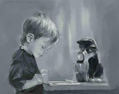 Фото Рисующий мальчик с кисточкой в руке рядом с ним сидит кошка у стакана с водой, подняв лапку над ним, by noso art