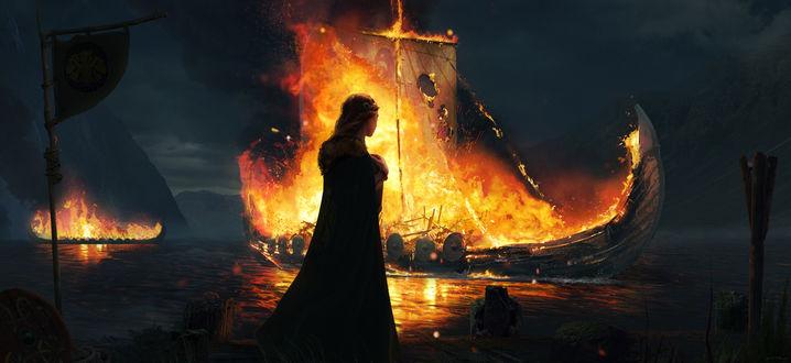 Фото Девушка стоит на фоне горящего корабля