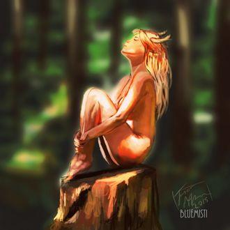 Фото Обнаженная девушка с рожками сидит на пне, by Bluemisti
