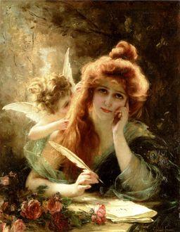 Фото Задумчивая рыжеволосая девушка с пером в руке пишет письмо любимому, рядом с ней за спиной маленький ангелочек что - то ей шепчет на ухо