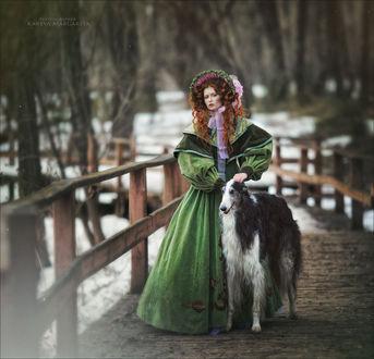 Фото Девушка стоит рядом с собакой, фотограф Margarita Kareva
