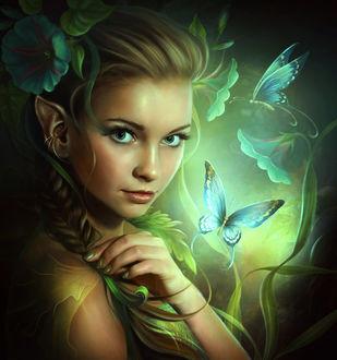 Фото Зеленоглазая девушка с цветами на волосах и бабочками перед ней, арт by ElenaDudina