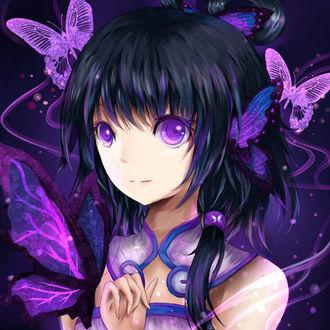 Фото Китайский вокалоид Ло Тяньи / Tianyi Luo с фиолетовыми бабочками