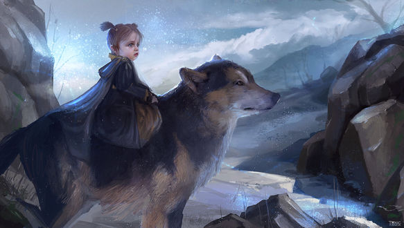 Фото Девочка верхом на волке, by KristinaToxicpanda