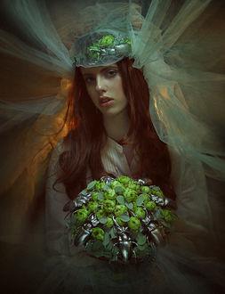 Фото Девушка - невеста в фате с букетом цветов и жуками на них, фотограф Надежда Шибина