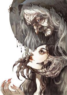 Фото Страшный монстр в виде старушки держит девушку за голову