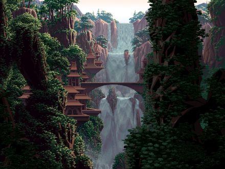 Фото Вдоль водопада выстроилось много странных сооружений, by Mark Ferrari