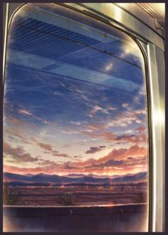 Фото Вид на рисовые поля и город в дали во время заката из окна поезда, by コーラ/ティアそ17a