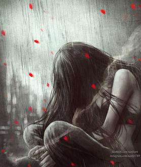 Фото Грустная девушка с сигаретой под проливным дождем и падающими лепестками, by NanFe