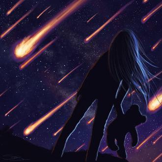 Фото Девочка с плюшевым мишкой смотрит на падающие метеориты, by slshimerdla