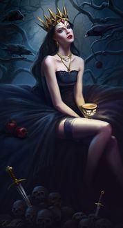 Фото Девушка-королева с чашкой в руке сидит в окружении воронов, by Lanfirka