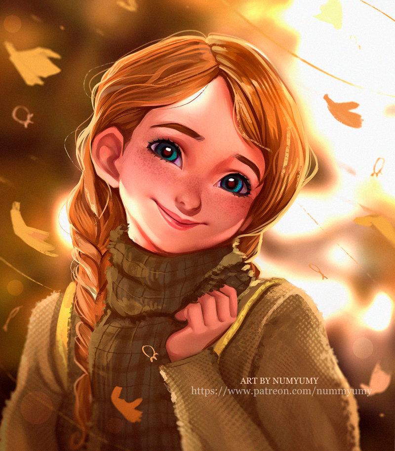Фото Портрет улыбающейся Анны / Anna из мультфильма Холодное сердце / Frozen by NUMYUMY