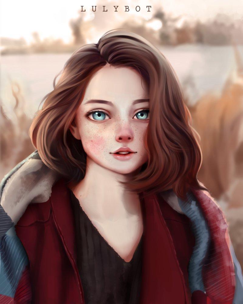 Фото Девушка с серыми глазами на фоне природы, by Lulybot