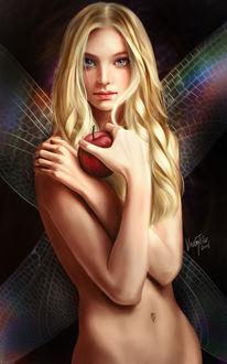 Фото Девушка держит в руке яблоко, by Vincent Chu