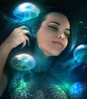 Фото Девушка в окружении медуз, by ElenaDudina
