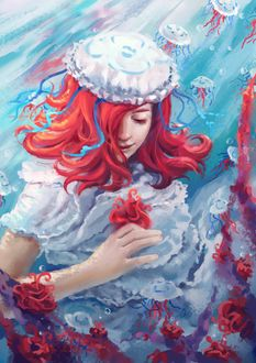 Фото Девушка в костюме медузы под водой с кораллами, by Evgenia Vorontsova