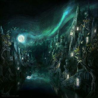 Фото Волшебный город со старинными домами на фоне ночного неба луны и млечного пути, by Marcela Bolivar