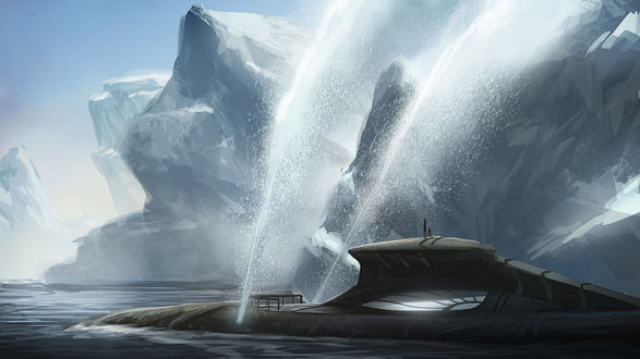 Фото Подводная лодка всплывает на поверхность воды, by justin oaks ford