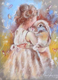 Фото Девочка обнимает кролика, by Аннет Логинова