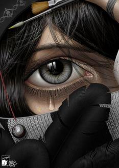 Фото Серый глаз девушки из которого капает слеза