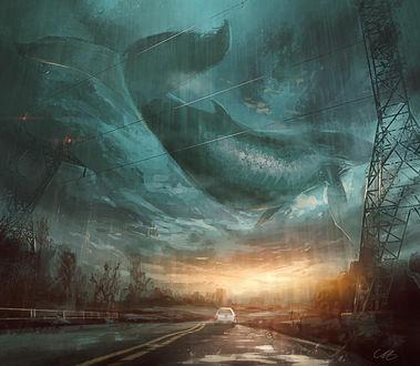 Фото Огромная рыба в небе над дорогой, по которой едет авто, by angrymikko on DeviantArt