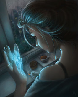 Фото Девушка держит на руке светящегося эльфа, by Elena Yasakova