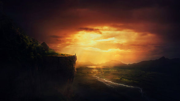 Фото Человек стоит на обрыве на фоне огненного неба, by BaxiaArt