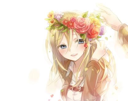 Фото Christa Lenz в венке из цветов из аниме Shingeki no Kyojin / Вторжение Гигантов