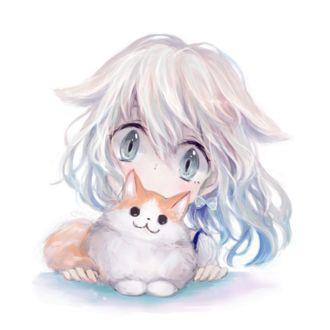 Фото Девочка с ушками и котенок